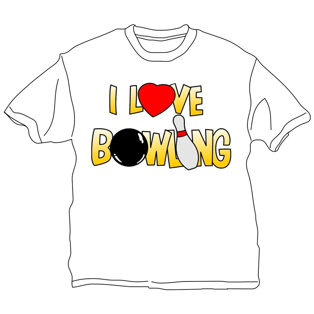 I Love Bowling T-Shirt- White (XX-Large, White) by Bowlerstore Products