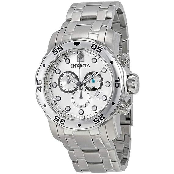 Invicta 0071 Pro Diver - Scuba Reloj para Hombre acero inoxidable Cuarzo Esfera plata: Amazon.es: Relojes