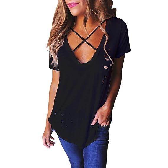 Rcool Camiseta para Mujeres - Moda V-Cuello Corto Manga Agujeros Camisa Blusa Informal Tops T-Shirt Características del Artículo: Amazon.es: Ropa y ...