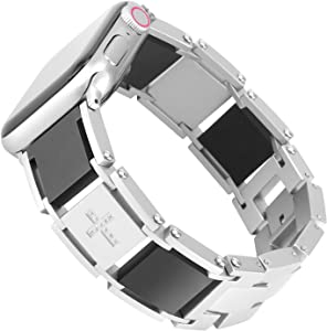 TOMAZON Stainless Steel Bracelet Link Compatible for Apple Watch Band 44mm 42mm Series 5/4/3/2/1 Solid Metal Smooth Chain Classic Business Wristband for Women Men, Silver