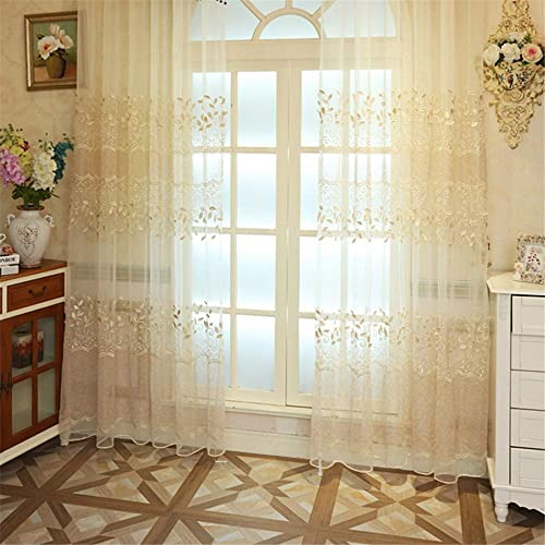 KMSG European Luxury Three-Dimensional Floral Embroidery Lace Sheer Curtains 2 Panels Rod Pocket