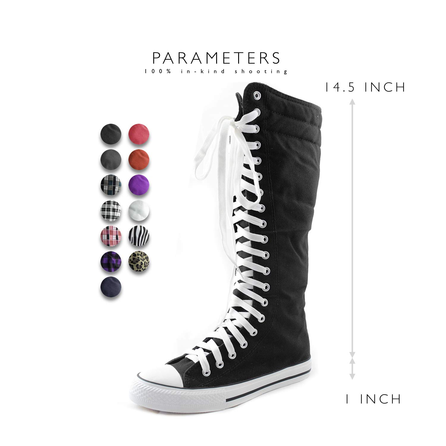Mid Calf Knee High Woman Boots Tall Classic Canvas Sky High Lace up Stylish Punk Flat Sneaker Boots