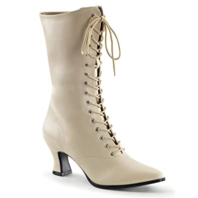 07b55cbe3f Summitfashions Womens Cream Victorian Boots with Lace Up Front and 2 Inch  Kitten Heels Size: