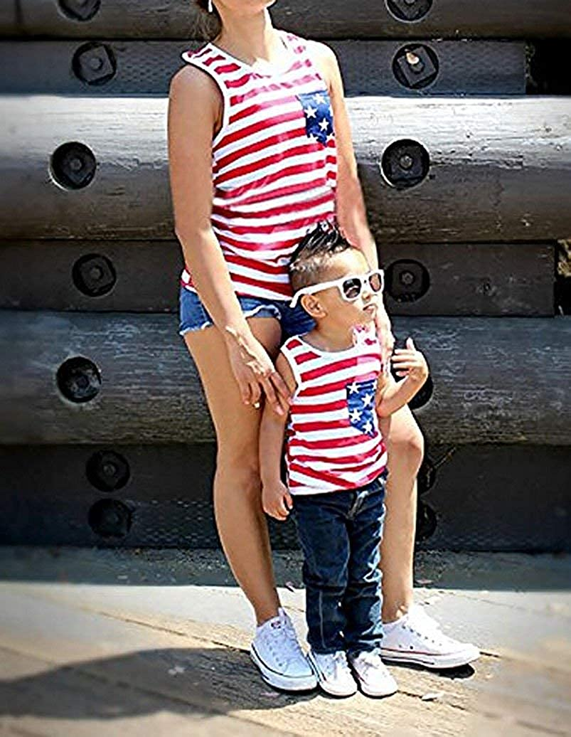 Noubeau 4th of July Mommy and Me American Flag Striped Stars Tank Tops Cami Vest Sleeveless Shirts