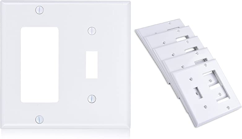 Cable Matters 5 Pack Duplex Outlet And Toggle Switch Combo Double Gang Wall Plate Cover Wall Outlet Cover Wall Plug Cover In White Wall Switch Cover Wall Plates Accessories Saidli Wall Plates