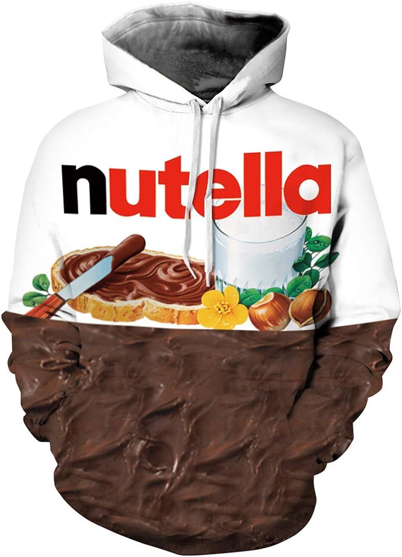 Siennaa Felpe con Cappuccio Unisex 3D Pullover Uomo Donna con Stampe Cioccolato Nutella Cerniera Coulisse Tasche Divertente Maglione Maniche Lunghe per Ragazzi e Ragazze S-3XL