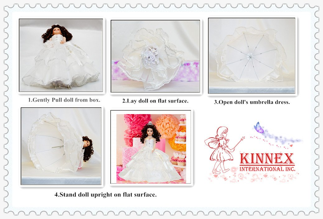Kinnex Collections by Amanda 18'' Porcelain Quinceanera Umbrella Doll (Table Centerpiece)~ Peach~ KK18725-28 by Kinnex Collections by Amanda (Image #5)