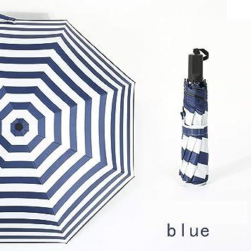 SANQING Paraguas Creativo Marina Rayas Paraguas automático sombrilla al Aire Libre Parasol Sol Negro Gel Protector Solar,Blue,Manual: Amazon.es: Hogar