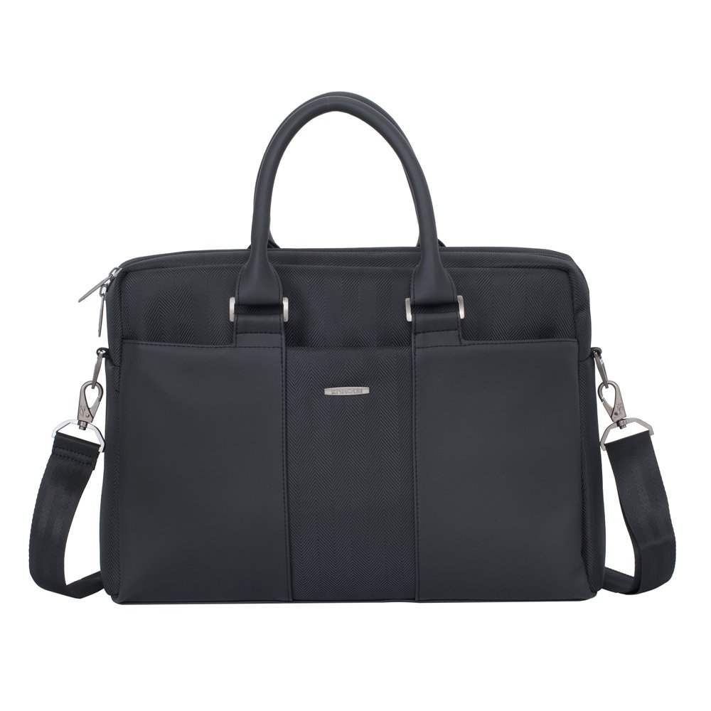Rivacase 8121 13 to 14 Inch Business Laptop Bag – Water Resistant Office Messenger Briefcase – Padded Nylon Shoulder Bag with Multi Compartment Storage for Notebook Tablet Cell Phone – Charcoal