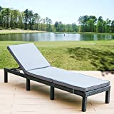 Leisure Zone Recliner Bed Rattan Adjustable Sun Lounger Garden Day Bed Recliner Day Chair Recliner Sun Bed with Waterproof Cushion
