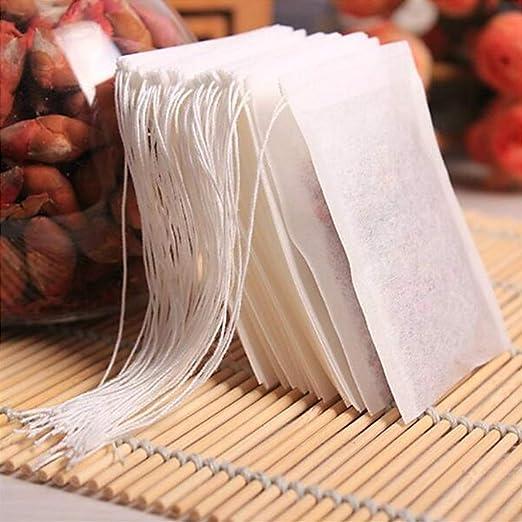 100 bolsas de té vacías con cuerda de sellado de papel de ...