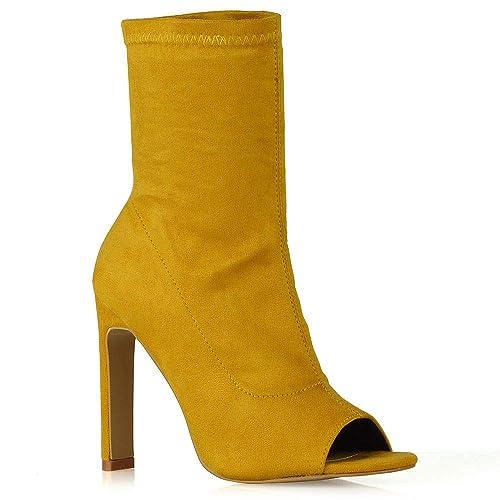 mustard peep toe boots