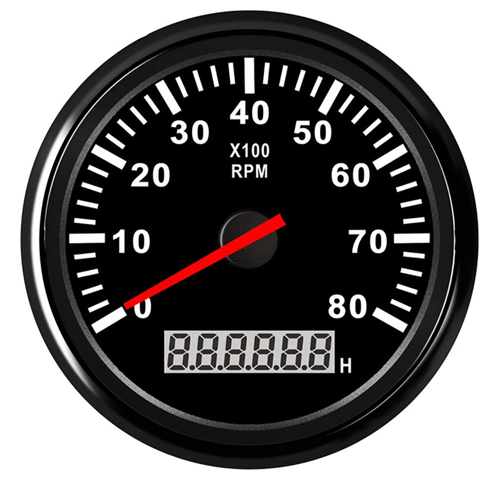 ITYAGUY 6000 RPM Tachometer Waterproof AUTO Digital Tacho Gauge with Red Backlight 85mm 9-32V for Car Boat Motorcycle