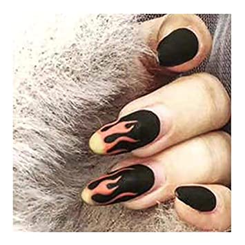 Amazon Com Fstrend Fashion Matte Black Fake Nails Coffin Fire Full Cover Acrylic False Nails Punk Halloween Party Prom Clip On Nails For Women And Girls 24pcs Beauty