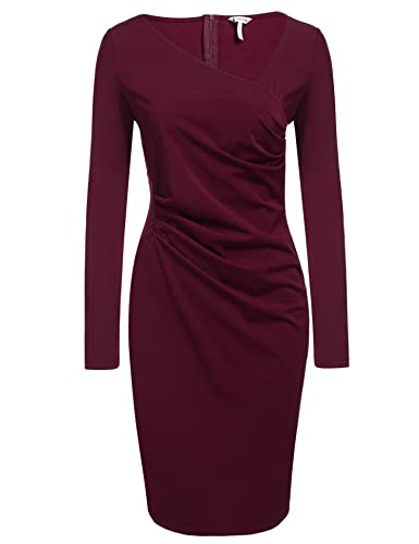 ANGVNS Women's Retro 1950s Style Long Sleeve Slim Business Pencil Dress