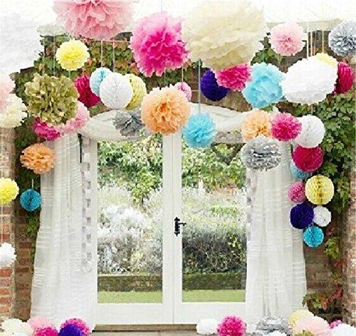 10pcs Khaki Tissue Hanging Paper Pom-poms, Hmxpls Flower Ball Wedding Party Outdoor Decoration Premium Tissue Paper Pom Pom Flowers Craft Kit Cream White