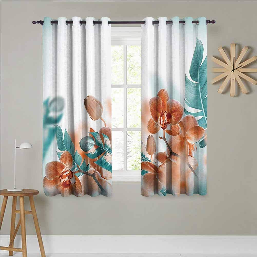 Tropical Decor Bedroom Blackout Curtain Panels Tropical Orchids Blossom Leaves On Blurred Background Floral Themed Modern Art Room Darkening Noise Reducing 72x72 Inch Orange Teal Amazon Ca Home Kitchen