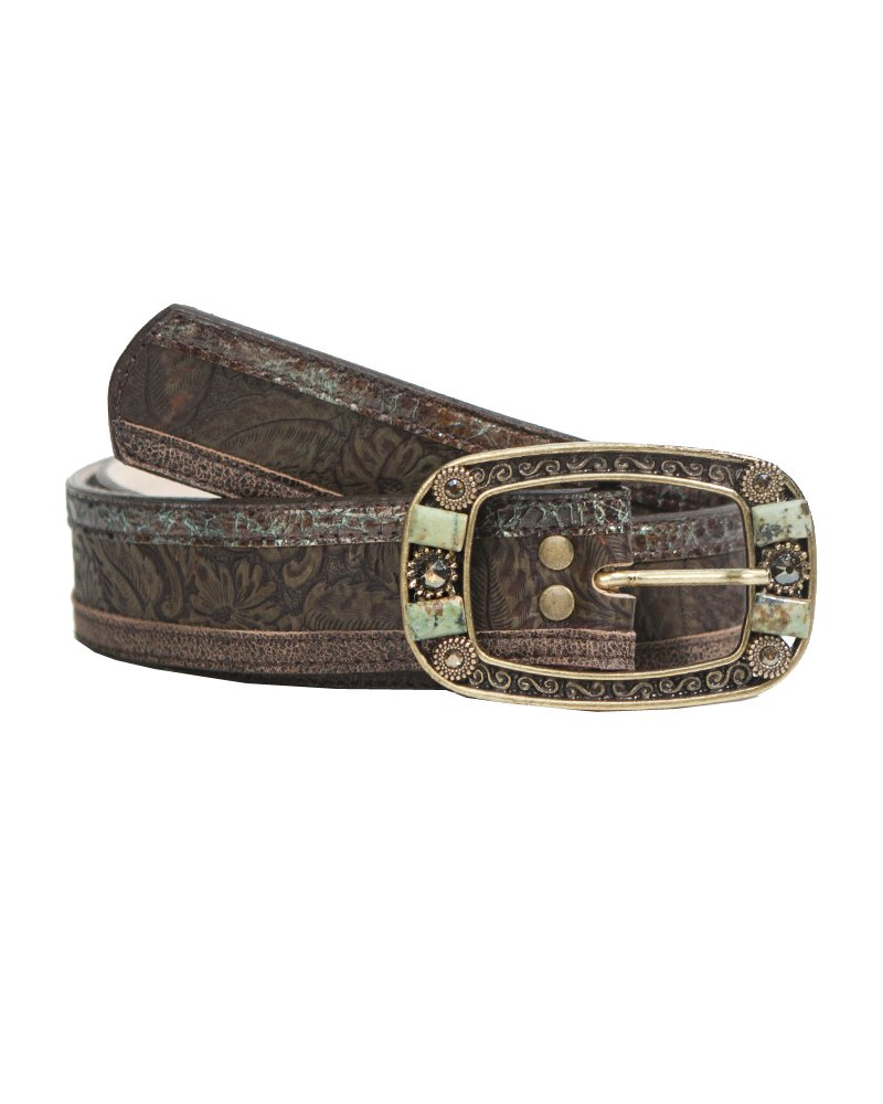 Leatherock Intricate Jean Belt With Leather, Turquoise-dyed Jasper and Swarovski