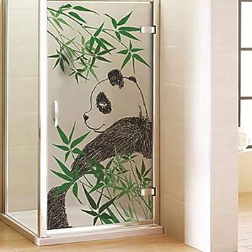 Pegatinas de cristal para ventana con diseño de panda para puerta corredera de baño, antitransparentes, 17.5 x 78.7 pulgadas: Amazon.es: Bricolaje y herramientas