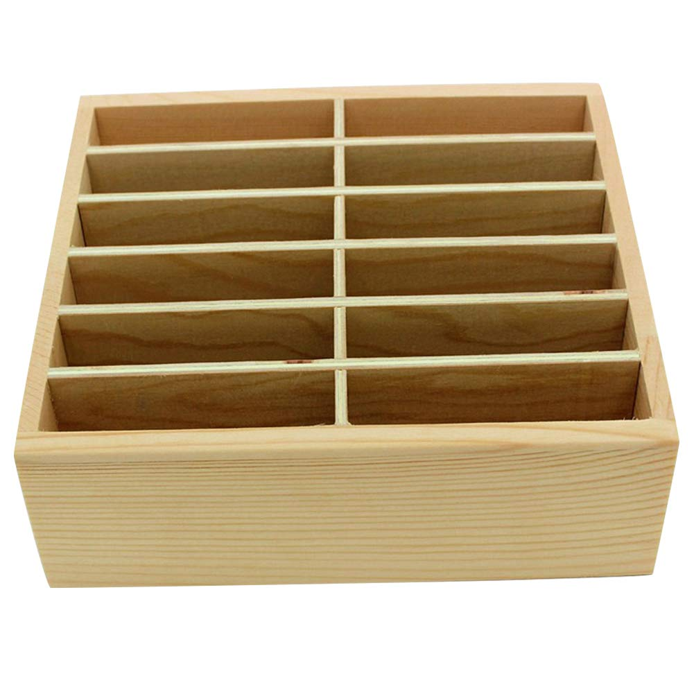 Ozzptuu 12-Grid Wooden Cell Phone Holder Desktop Organizer Storage Box for Classroom Office