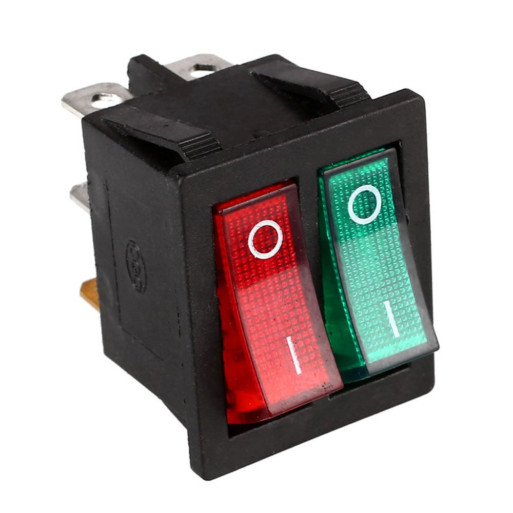 Toggle Switch Durable Red Green Button With Switches Dpdt Double Pole Throw Rocker Light Diy Lights Automotive