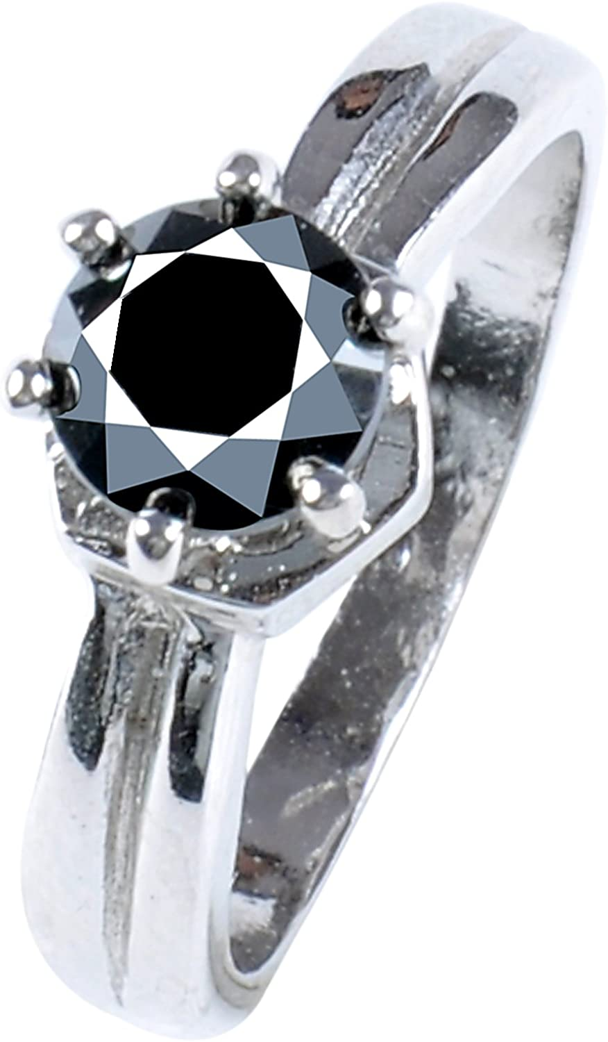 RINGJEWEL 0.93 ct AAA Round Cut Real Moissanite Solitaire Engagement /& Wedding Ring Black Color Size 7