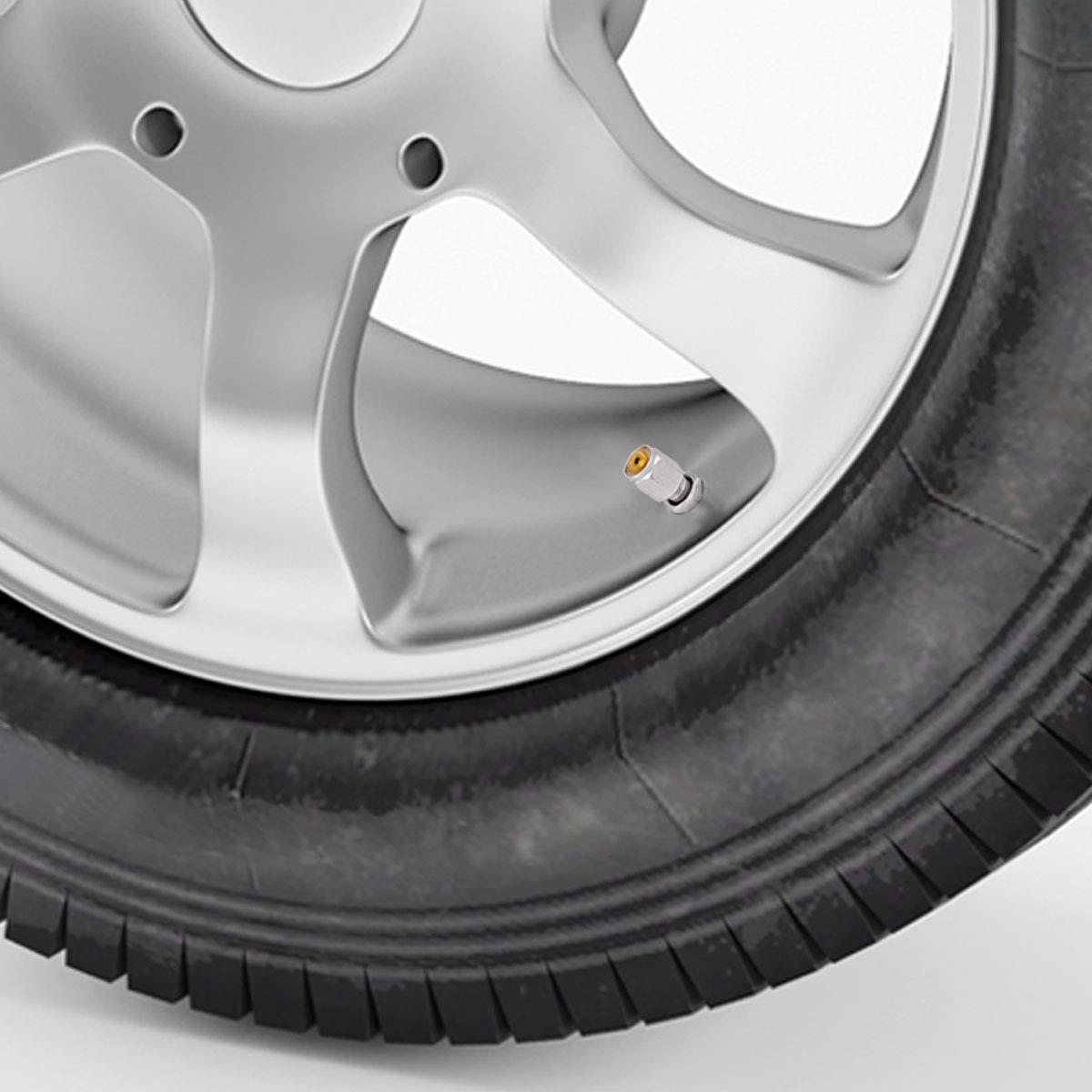 TOMALL Bolt-in Tire Valve Stem Caps Explosion Proof Tubeless Valve Stem Gray Aluminum Alloy