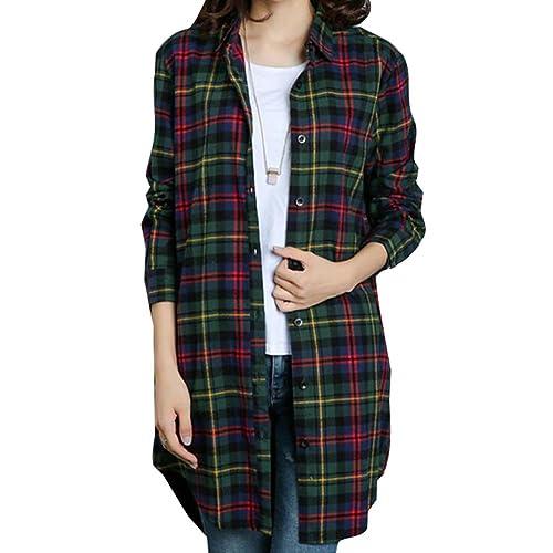 Camisa Cuadros Mujeres Largo - Blusas Manga Larga Tshirts Tartán Tops Irregulares Camiseta Abrigo De...
