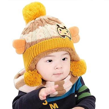 Bonnet Bebe, Tpulling Bébé filles garçons hiver chapeau écharpe laine  foulards (Beige) 7c5f9b8eb0e