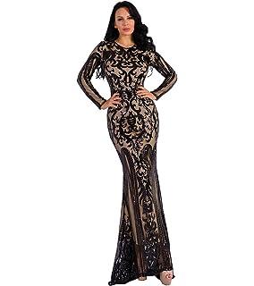 b3b985c5ff Missord Women's O Neck Long Sleeve Pattern Glitter Maxi Dress Gold S ...