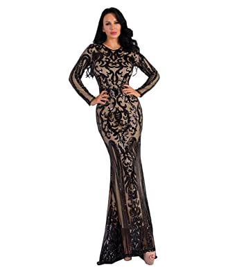 af9e3d7f Missord Women's O Neck Long Sleeve Retro Sequin Maxi Gorgeous Evening Dress  FT8578 Black S