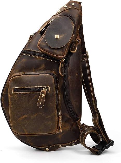 Herren Sling black Bag aus echtem Leder Brust Schulter Rucksack Cross DE