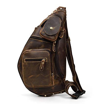 5a8251d1e0ae4 LUUFAN Herren Echtes Leder Sling Bag Brusttasche Cross Body Bag Cross  Durable Schulter Rucksack (Brown