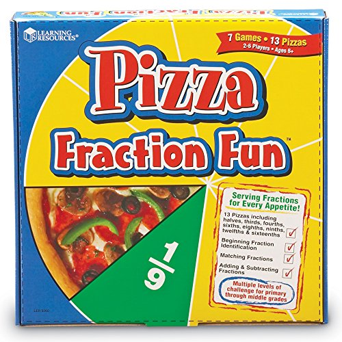 Learning Resources Pizza Fraction Fun Game, 13 Fraction Pizzas, 16 Piece Game, Ages 6+,Multi Color