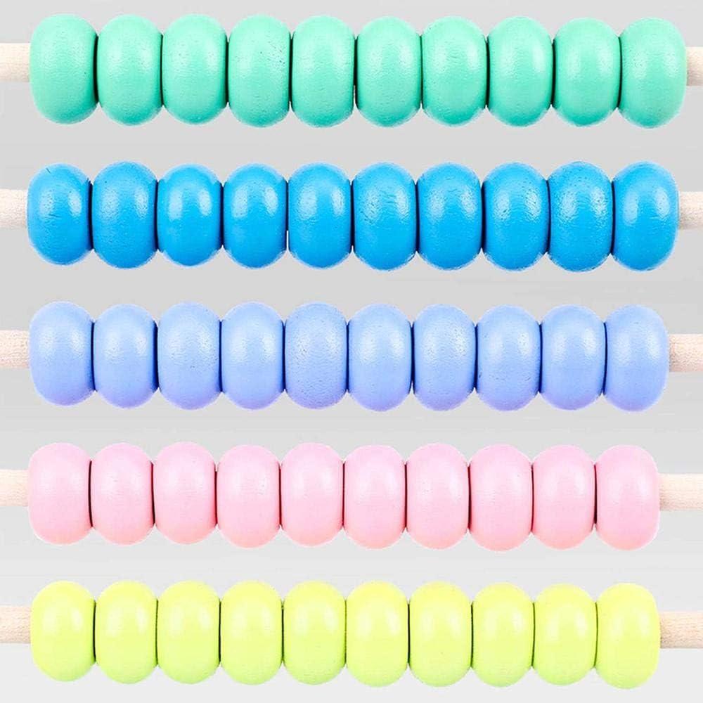 Jouet /éducatif Jilibaba Boulier en bois avec 10 rang/ées de perles multicolores pour calculer les chiffres