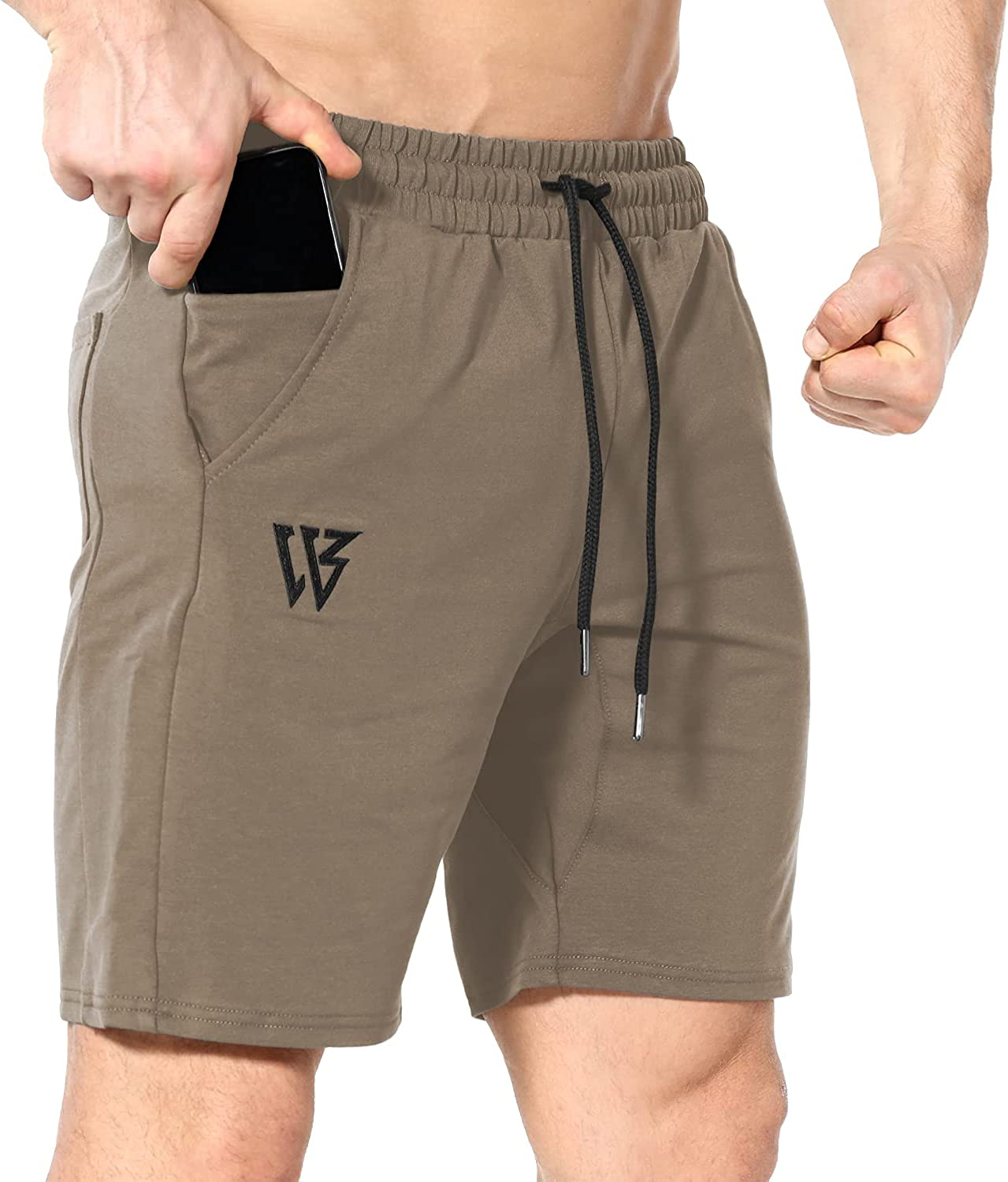 Mens Jogger Shorts  Fleece Gym Sports Active  Shorts with side Pockets