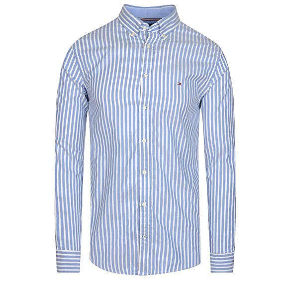 44ee2368 Tommy Hilfiger Dobby Basketweave Striped Long Sleeve Shirt in Blue: Amazon. co.uk: Clothing