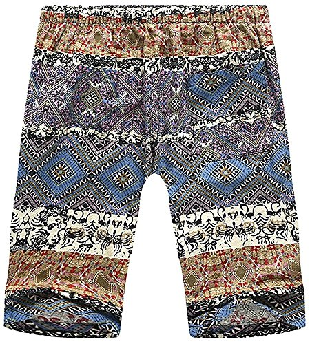 BABY-QQ Fashion Men's Fashion Tribal AZTEC Printed Elastic Waist Beach Boardshorts Shorts, US 29 (Waist) = Tag XL Flowers30