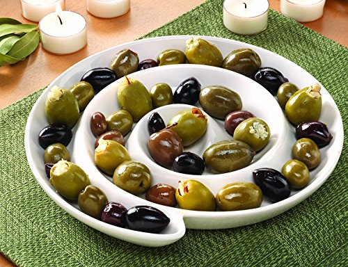 """Swirl Bowl Plate for Black or Green Olives, grapes, candy, Appetizers, Jewelry or anything. Great for Parties, Catering, Gatherings or just for you. Fun Mold. White ceramic, 9"""" (Plate Green Olive Dinner)"""