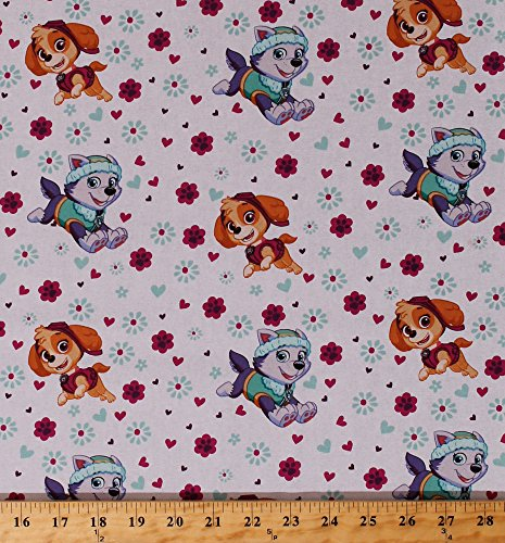 Cotton Paw Patrol Rescue Dogs Allover Skye Everest Characters Hearts Flowers Pawprints Paw Prints Paws Pink Aqua Girl Pup Power Kids Girls Cotton Fabric Print by the Yard (PW-4048-5C-1WHITE)]()