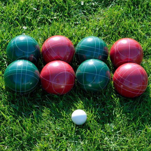 Hey! Play! Bocce Ball Set- Regulation Outdoor Family Bocce Game for Backyard, Lawn, Beach and More- Red and Green Balls, Pallino, and Carrying Case by Hey! Play! (Image #2)