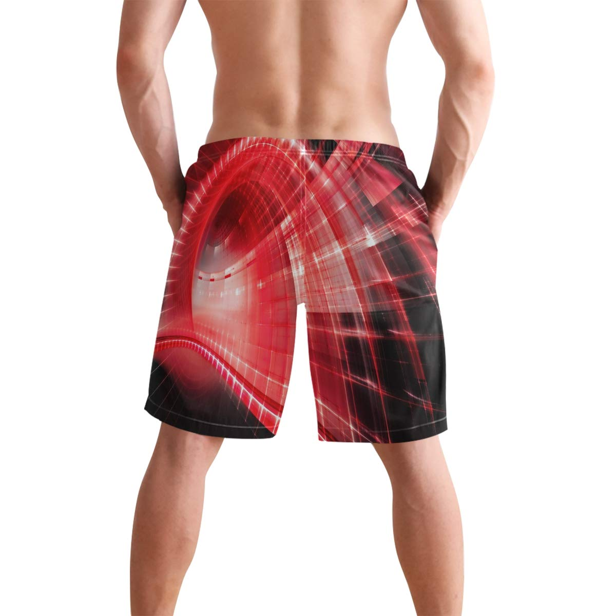KVMV Red Neon Symbol Background with Different Shapes 5size Beach Shorts