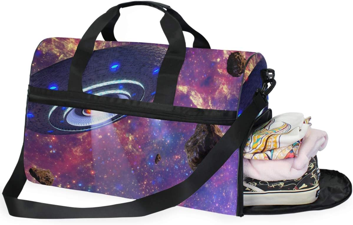MUOOUM Fantastic Galaxy UFO Large Duffle Bags Sports Gym Bag with Shoes Compartment for Men and Women