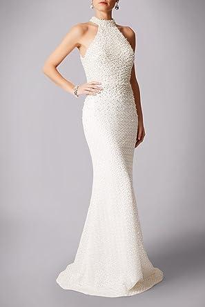 Mascara Ivory MC181237B Pearl Lace Halterneck Wedding Dress UK 8 ...