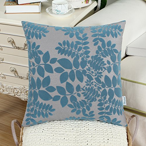 CaliTime Pack of 2 Throw Pillow Covers Cases for Couch Sofa Home Decor 18 X 18 Inches, Flocking Cute Leaves, Grey Teal