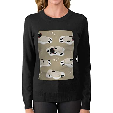Amazon.com  BenF Sheep Women s Fashion Sweater Printed Crew Neck Casual  Pullovers Sweater  Clothing 5ce8ea49a8