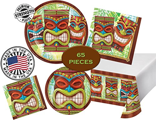 Dinner Blossom Plate Time (Tiki Time Luau Aloha Hawaii Party Pack - Dinner & Dessert Plates, Dinner & Beverage Napkins, Tableware - 65 Pieces - 16 guests - MADE IN THE USA)
