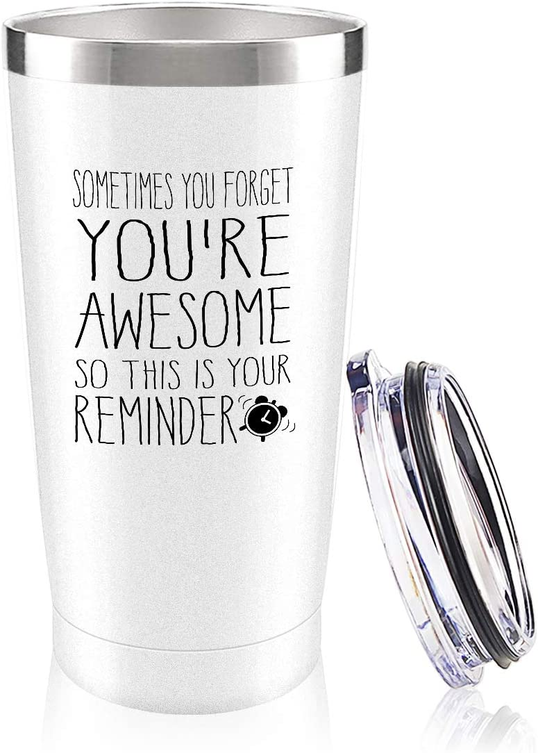 You are Awesome Wine Tumbler,Thank You Gifts for Coworkers,Funny Birthday Wine Gifts Ideas for Women, Sister, Best Friends Funny Gifts,Employee Appreciation Gift,(20oz,White)