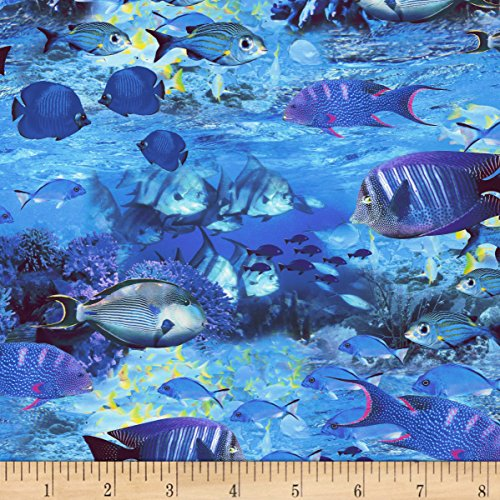 Ocean Fish Fabric - Timeless Treasures Sea Life School Of Fish Nautical Fabric By The Yard