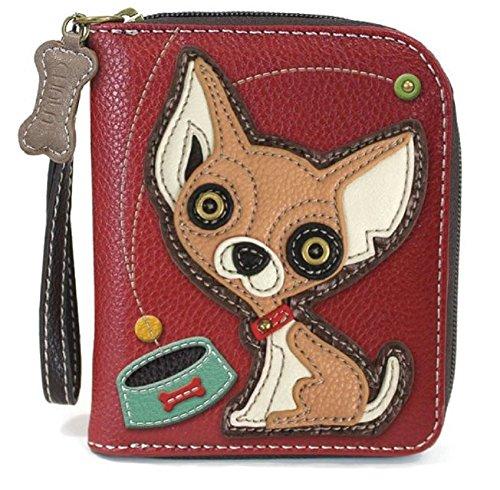 - Chala Zip Around Wallet, Wristlet, 8 Credit Card Slots, Sturdy Pu Leather, Chihuahua - Burgundy
